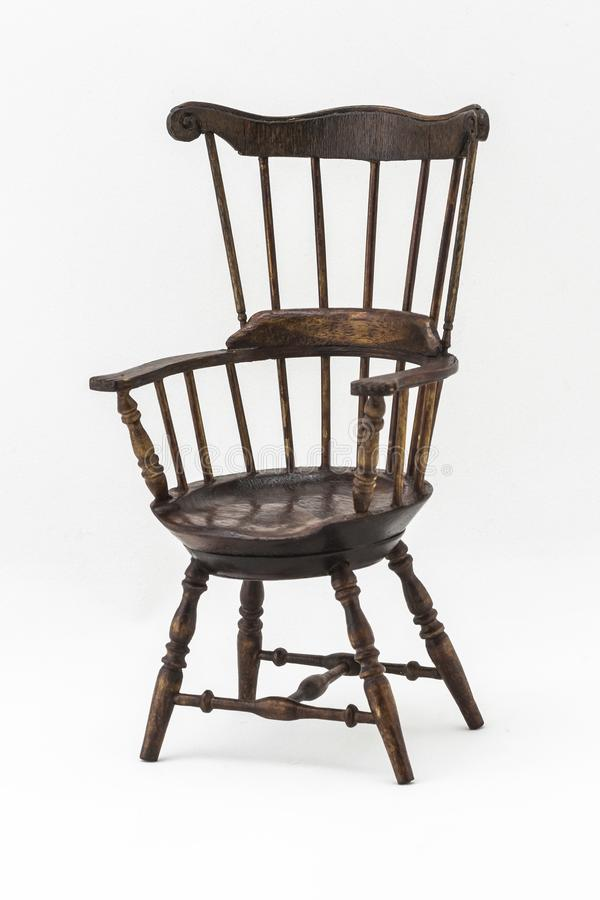 Old Windsor wooden chair. Crafts made of wood to decorate the interior of a house stock photo
