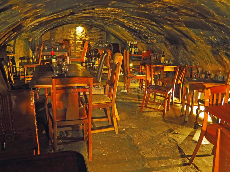 Old Wine Bar Cave in London, England. The character filled interior of Gordon`s Wine Bar, the oldest in London, England royalty free stock photos