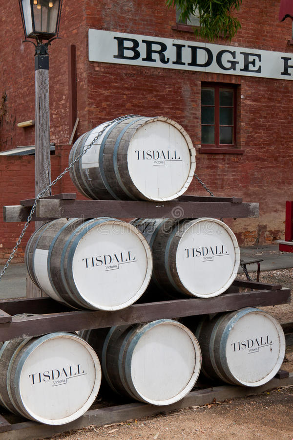 Old wine barrel stack in Port of Echuca. stock images