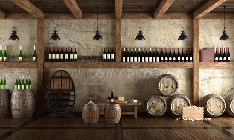 Old wine cellar with bench for tasting. 3d rendering stock illustration