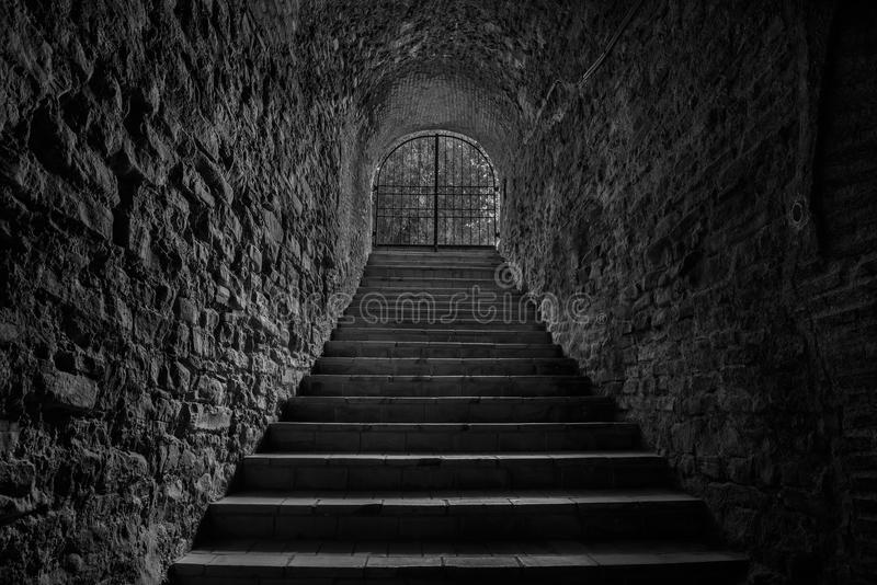 Old wine cellar tunnel entrance. Stairway leading to underground royalty free stock photo