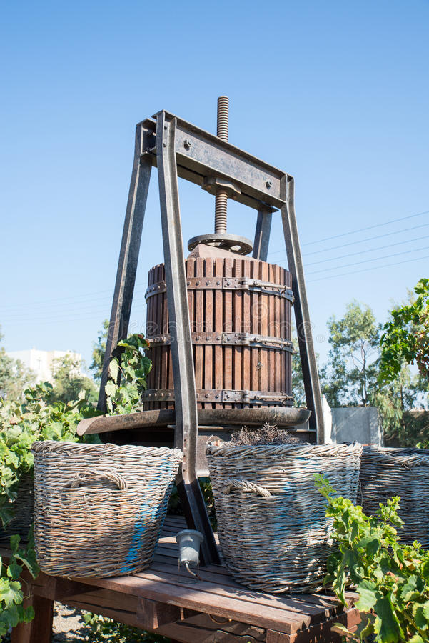 Old wine press on Santorini. An old wine press on Santorini, Greece royalty free stock photos