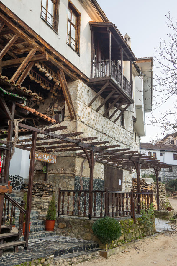 Old wine tavern in Melnik, Bulgaria. Melnik - the smallest town in Bulgaria. Located in the south in the valley of limestone rocks of Melnik has long been famous royalty free stock images