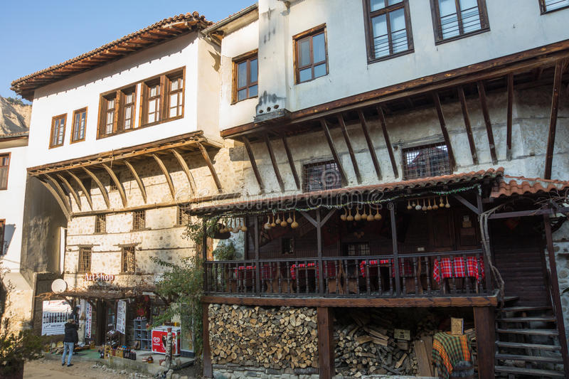 Old wine tavern in Melnik, Bulgaria. Melnik - the smallest town in Bulgaria. Located in the south in the valley of limestone rocks of Melnik has long been famous stock image