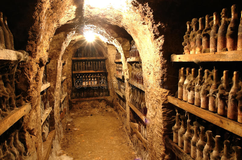 Old Wine from Tokai valley. Old caves and wine from Tokai valley in Slovakia royalty free stock images