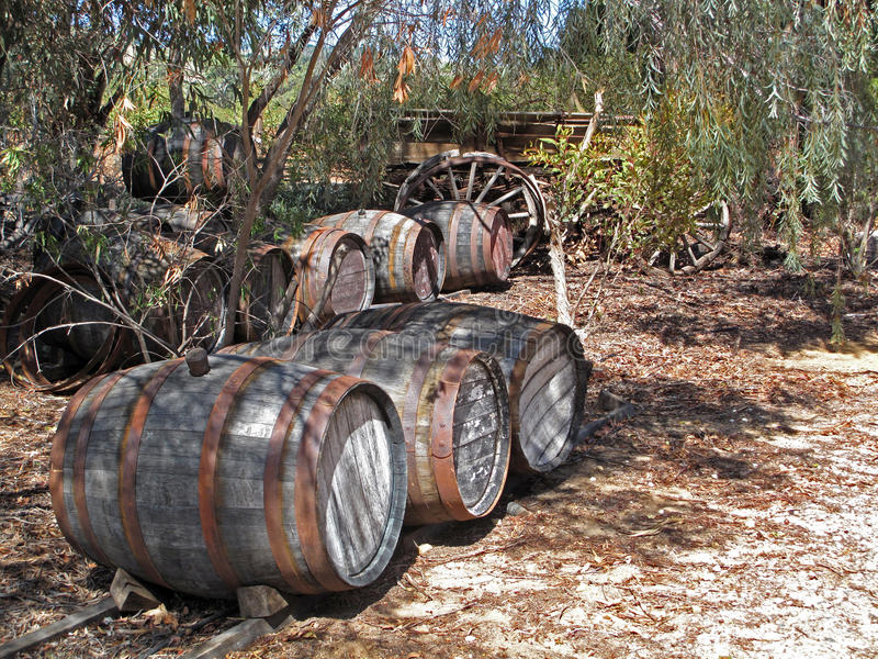 Old Winery Barrels with Wagon. In Barossa, South Australia's wine country stock photos