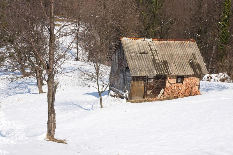 Download Old winter cabin stock photo. Image of footprints, rural - 13452206