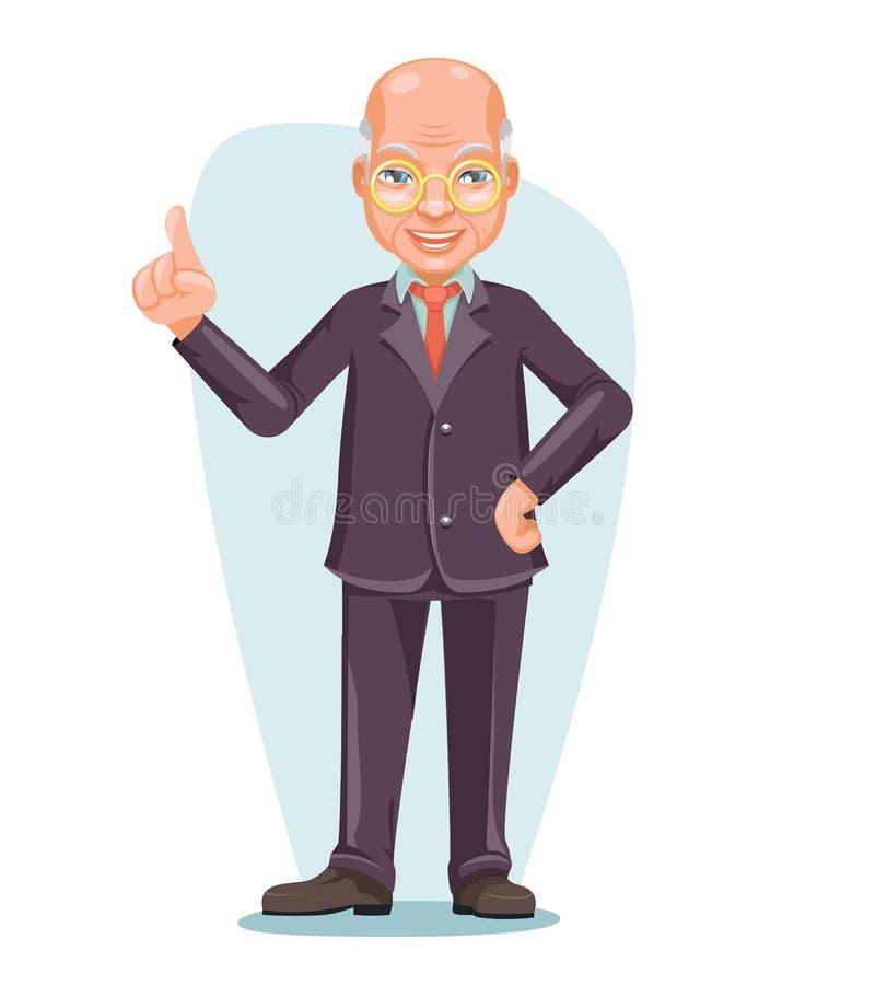 Old Wise Man Elderly Asian Businessman Chinese Japanese Vietnamese Male Employee Boss Hand Forefinger Up Cartoon. Design Character Vector Illustration royalty free illustration