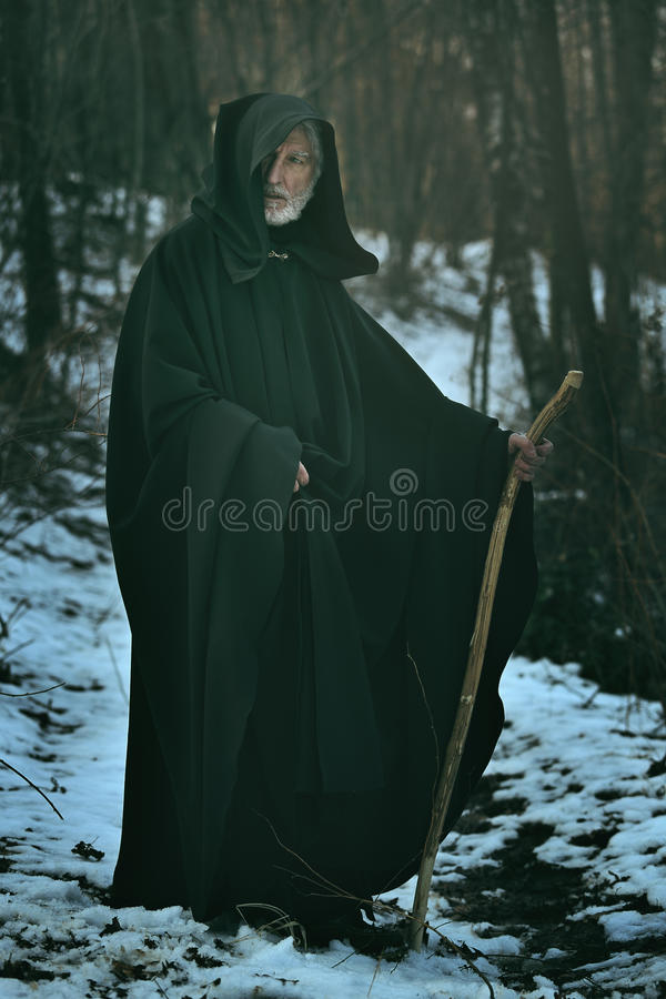 Old wise man with staff in the wood royalty free stock images