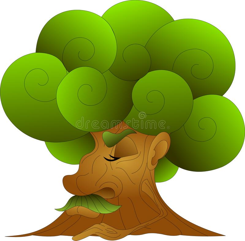 Old wise tree with a lush, green crown, dozing stock illustration