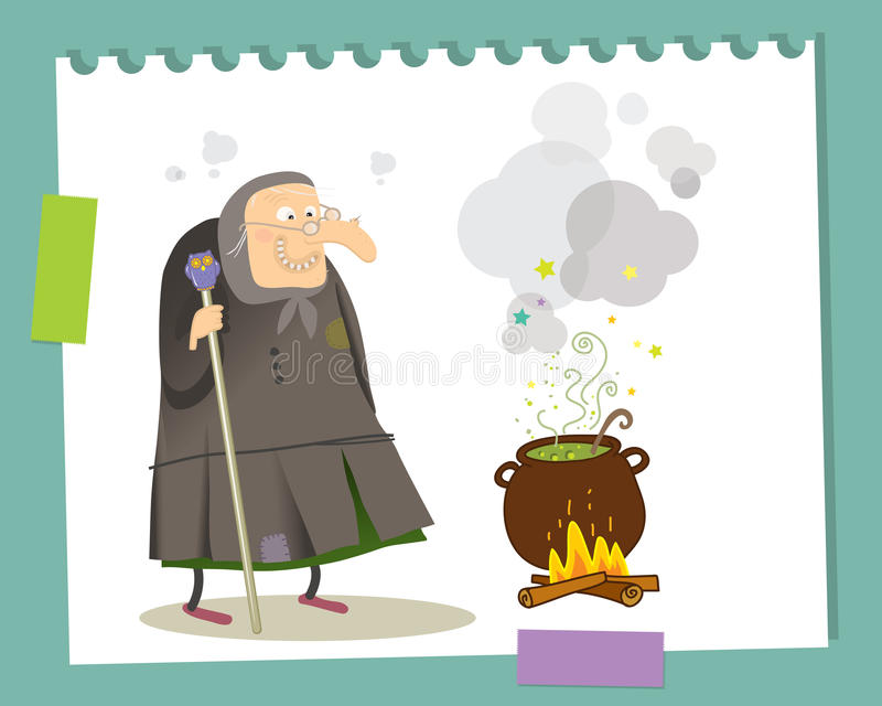 Download Old witch stock vector. Image of grin, duct, background - 21565153