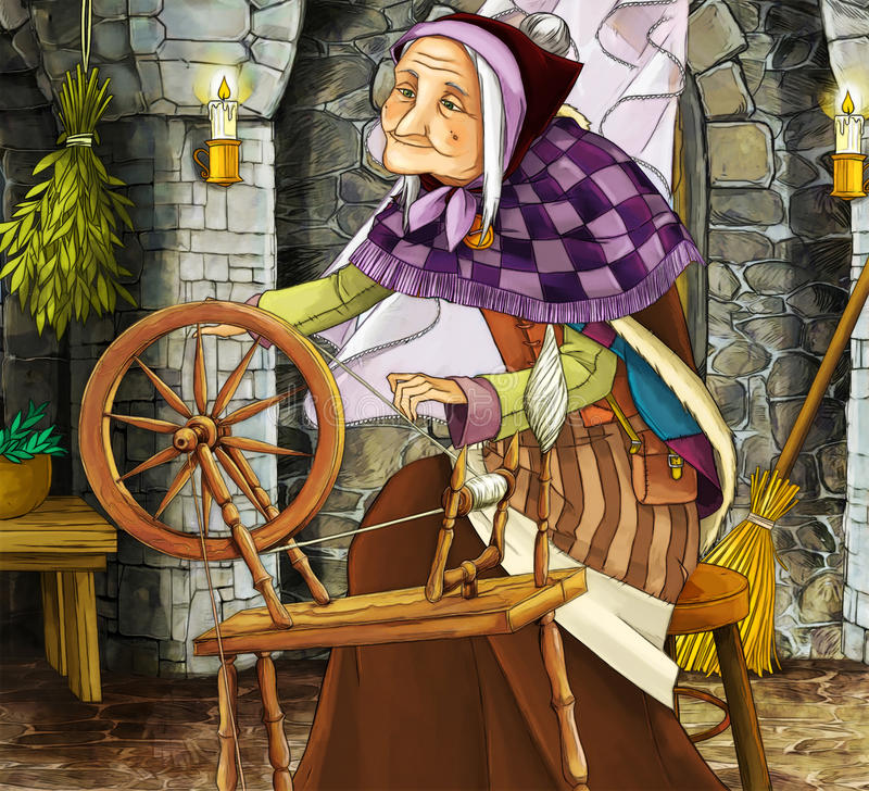 Old witch in the old room - illustration for different subjects. Happy and colorful illustration for the children royalty free illustration