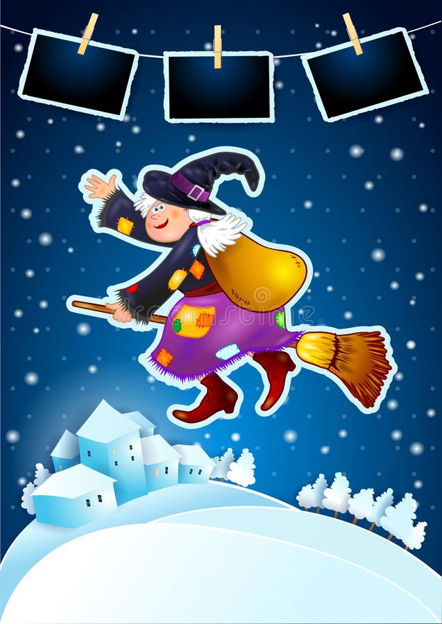 Old witch with snowy landscape and photo frames vector illustration