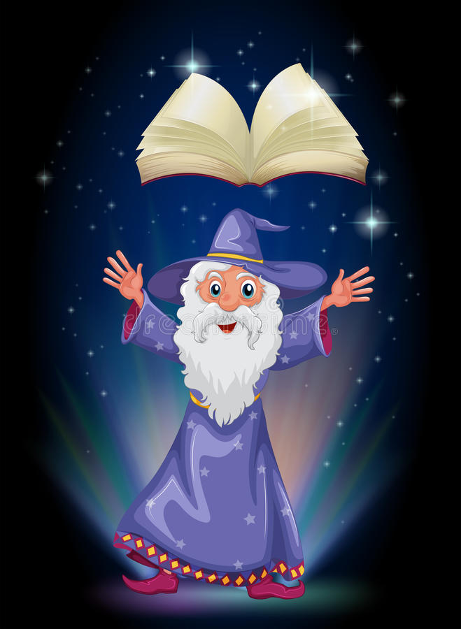 An old wizard below the floating empty book royalty free illustration