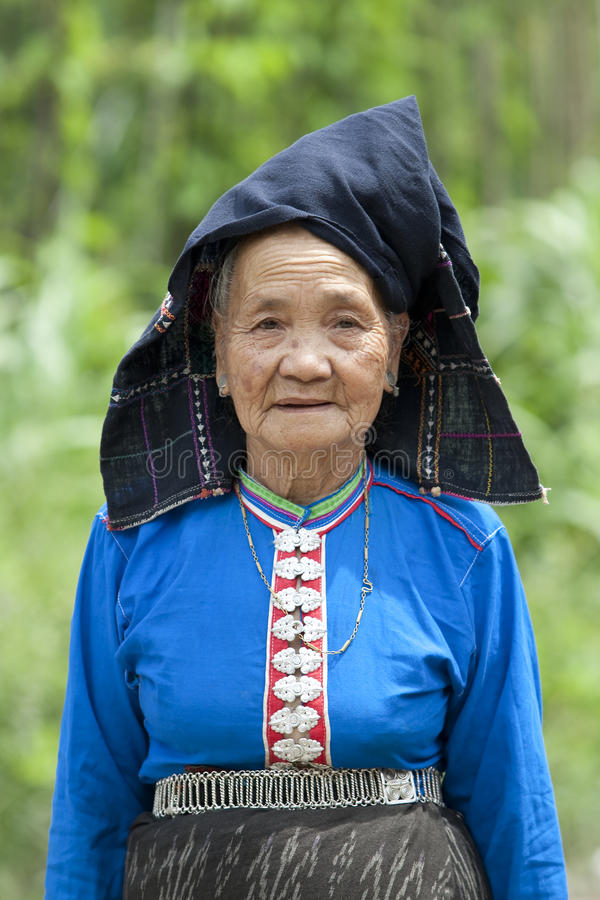 Old woman Asia in national costume, Laos. Ethnic group Tai Dam stock photos