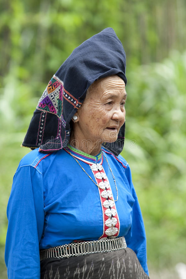 Old woman Asia in national costume, Laos. Ethnic group Tai Dam stock photo