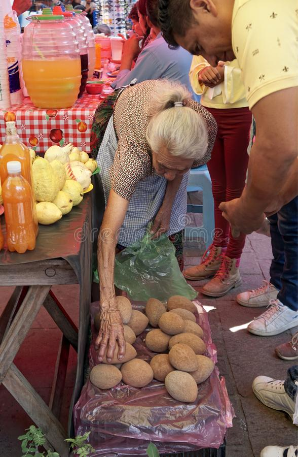 Old fruit seller woman royalty free stock photos
