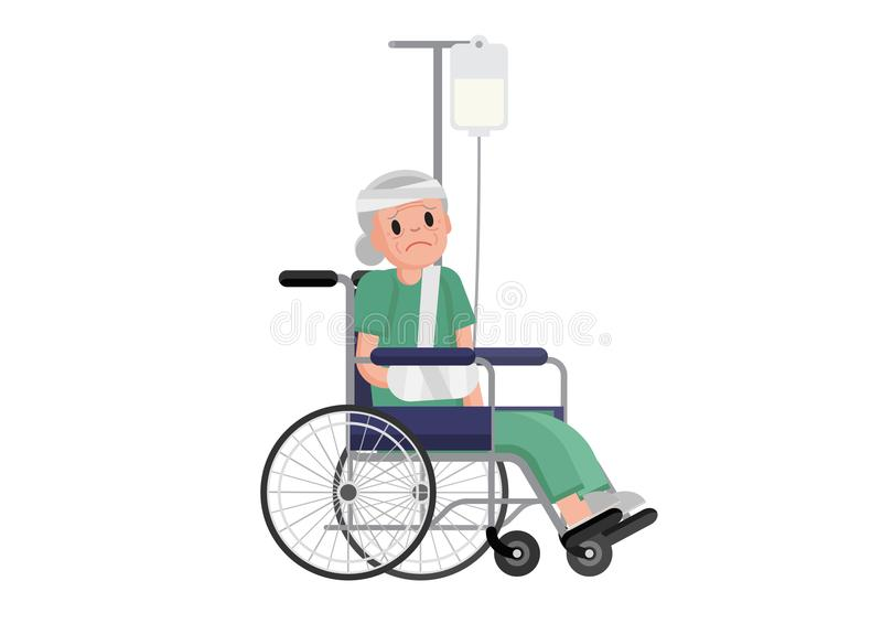 Old woman with broken leg sitting in the wheelchair. grandmother in a wheelchair with broken bone. flat design illustration. On white background stock illustration