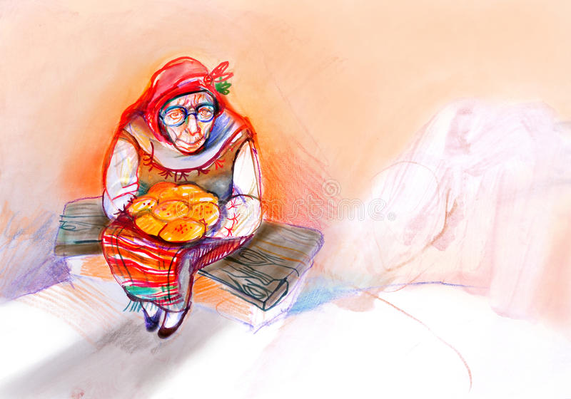 Old woman with cake in traditional Eastern Europe clothes, drawing on paper stock photography