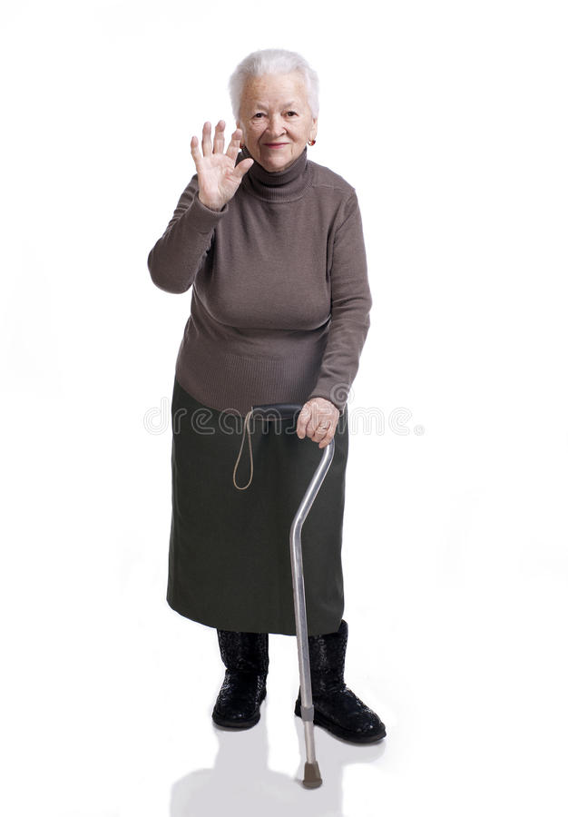 Download Old woman with a cane stock image. Image of background - 29044713