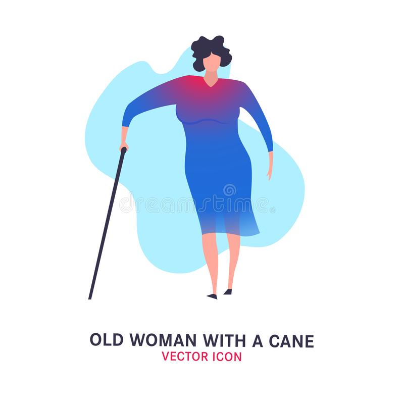 The old woman with a cane. Elderly people problem. Medicine, healthy lifestyle concept. Editable vector illustration in blue, magenta colors isolated on white royalty free illustration