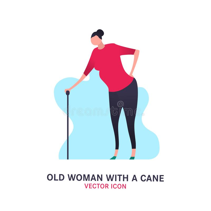 The old woman with a cane. Elderly people problem. Medicine, healthy lifestyle concept. Editable vector illustration in bright colors isolated on white stock illustration
