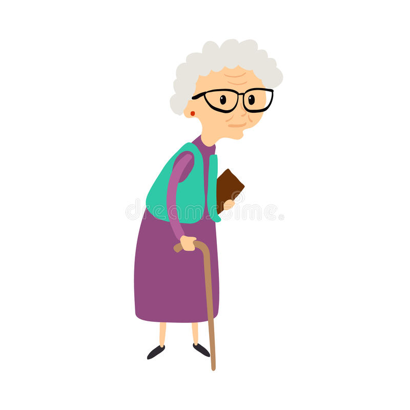 Old woman with cane. Senior lady with glasses walking. Vector. stock illustration