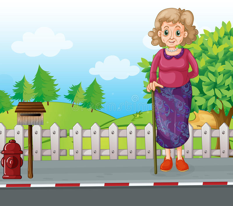 BM_1500_229. Illustration of an old woman with a cane standing at the roadside near the mailbox stock illustration