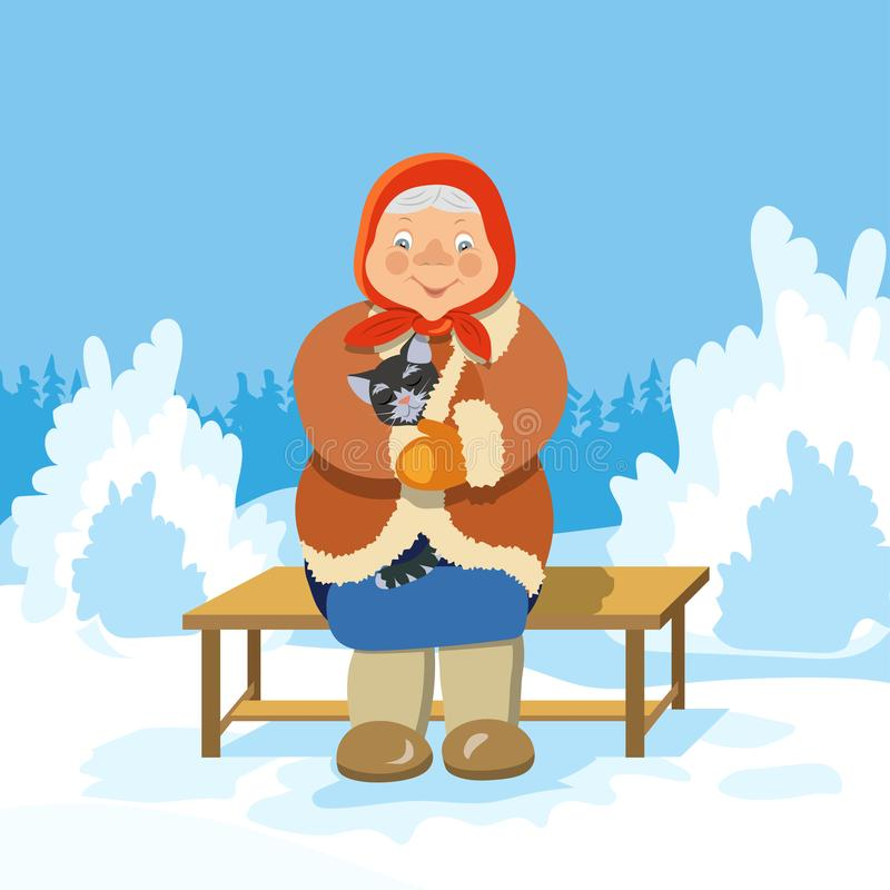 An old woman with a cat sitting on a bench in a winter Park royalty free stock photo