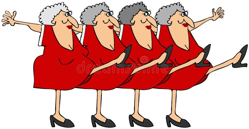 Old woman chorus line. This illustration depicts old women kicking their legs up in a chorus line stock illustration
