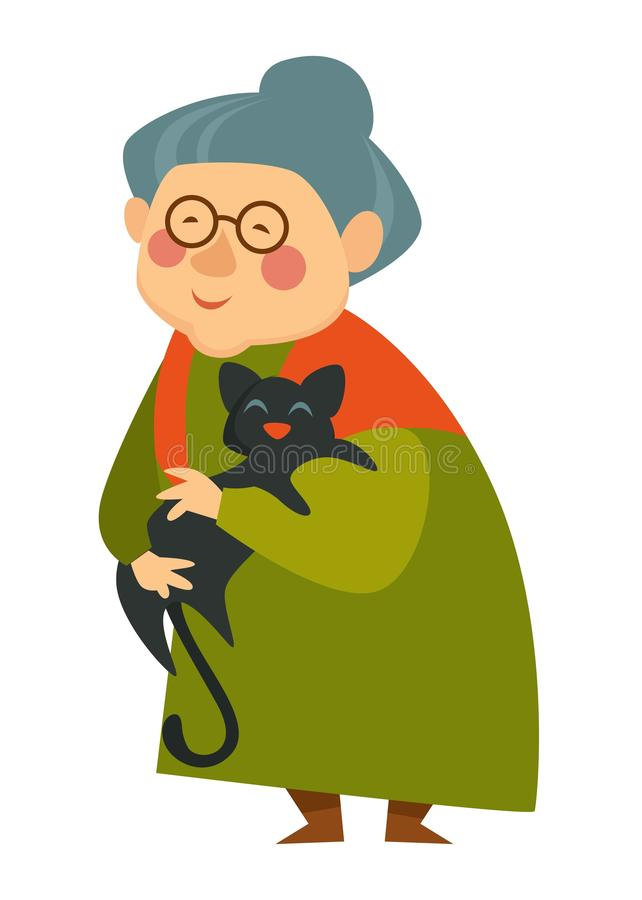 Old woman cuddling cat, pensioner lady happy with pet royalty free illustration