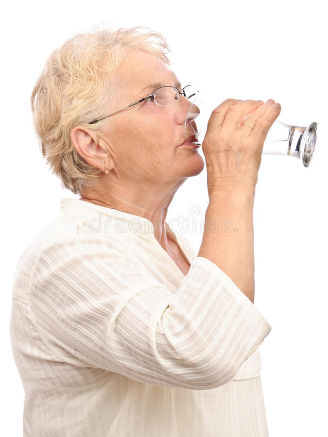 Download Old woman drinking water stock image. Image of profile - 20841217