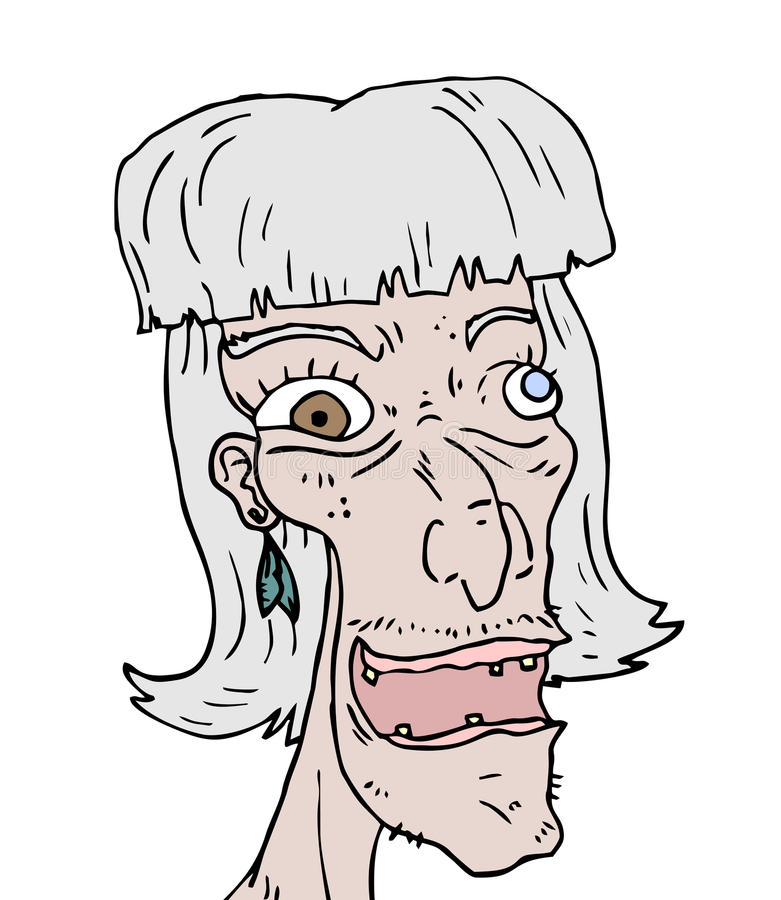 Old woman face. Creative design of old woman face stock illustration