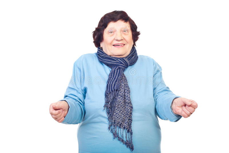 Old woman with facial expression. And gesture isolated on white background,check also stock image