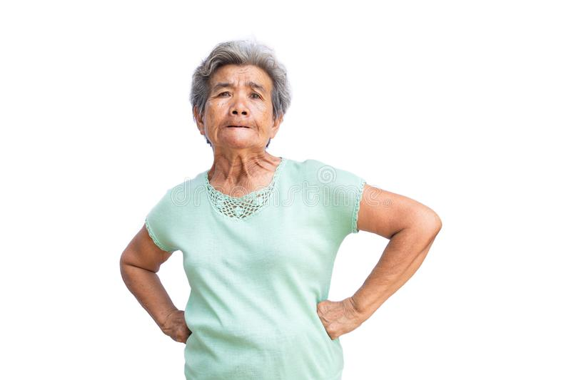 Old woman feeling furious on white. Background royalty free stock photo