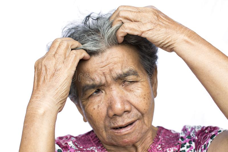 Old woman felt a lot of anxiety about hair loss issue on white background stock photos