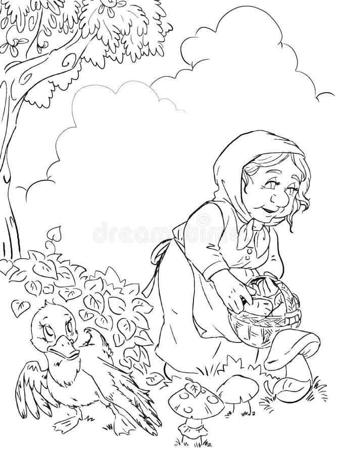 old woman in the forest contour black and white fairytale illustration royalty free illustration