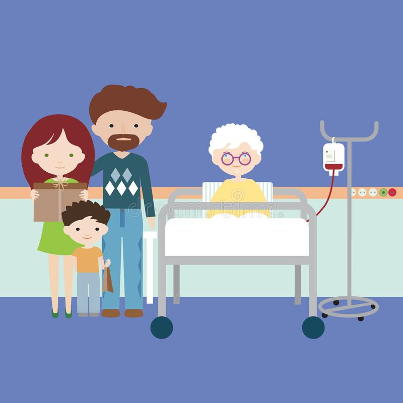 Old woman or grandmother lying in hospital bed and having intravenous infusion of artificial nutrition, family with children and vector illustration