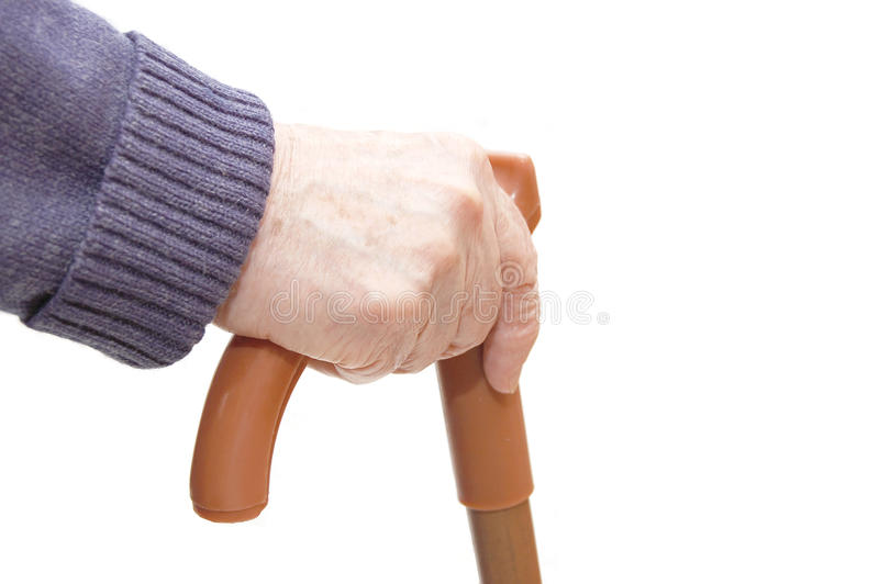 Download Old Woman Hand Leans On Walking Stick Stock Image - Image: 11073177