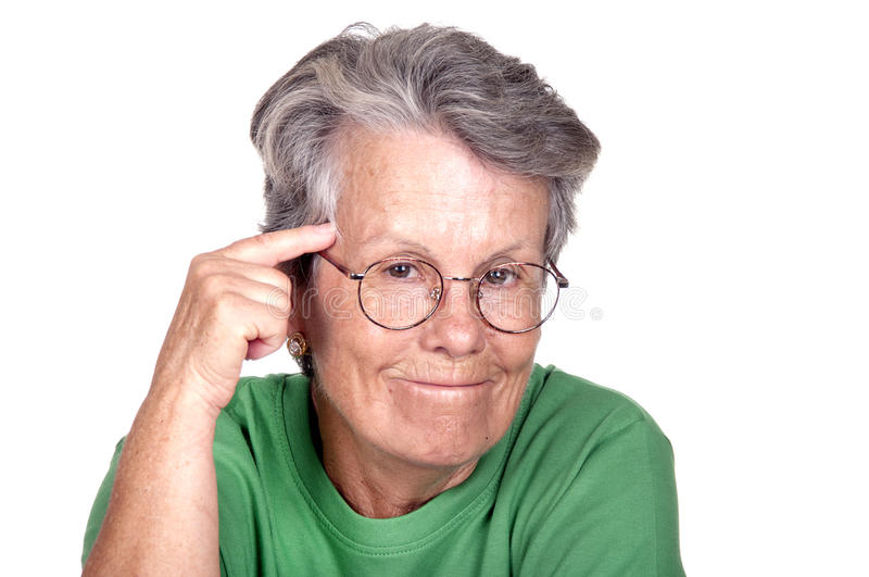 Old woman having a good idea. On white background stock images