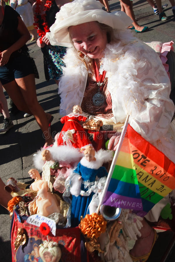 Old Woman In Her Colorful Cart At Toronto Pride Editorial Photo
