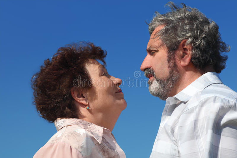 Download Old Woman And Man Looking To Each Other Stock Image - Image: 20005415