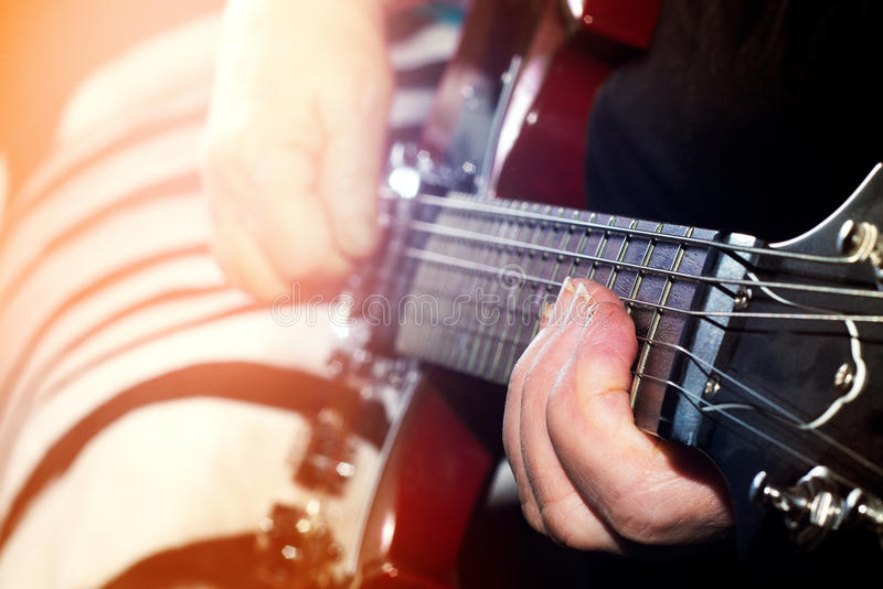 Old, woman, man playing electric, acoustic guitar, black backgr royalty free stock photos