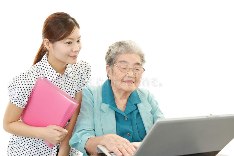 Download Old woman with a notebook stock image. Image of home - 39507559