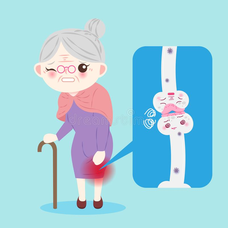 Old woman with osteoporosis. Problem on the blue background royalty free illustration