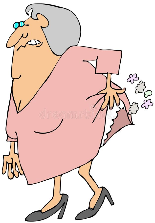 Download Old woman passing gas stock illustration. Image of break - 32232350