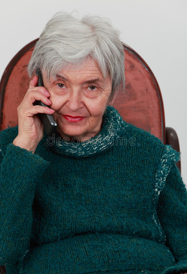 Download Old Woman On The Phone Stock Photography - Image: 17704812