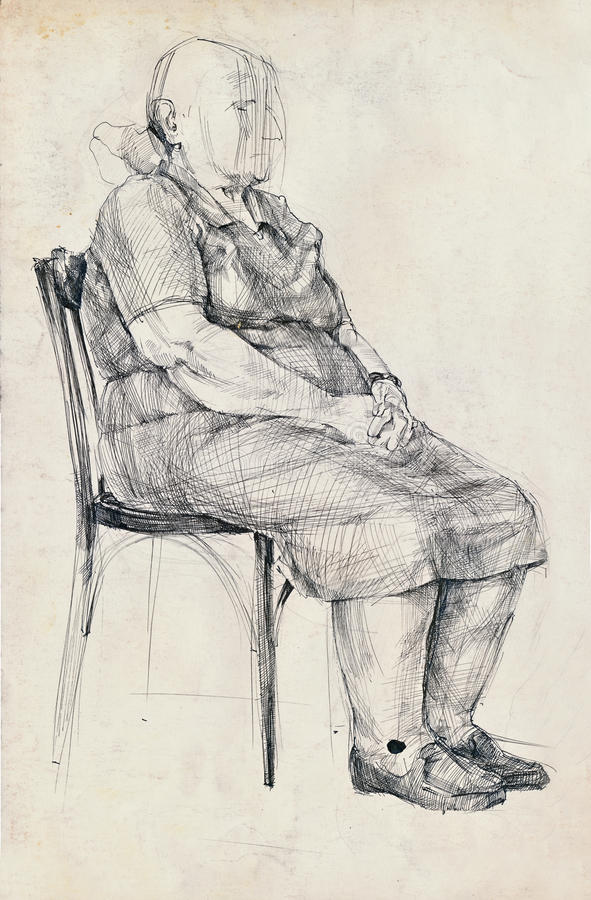 An old woman pose royalty free illustration