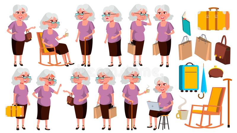 Old Woman Poses Set Vector. Elderly People. Senior Person. Aged. Friendly Grandparent. Web, Poster, Booklet Design stock illustration