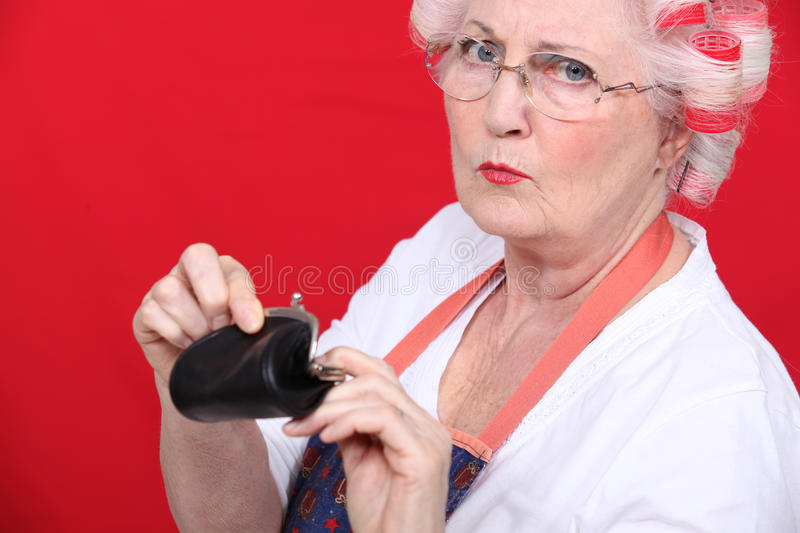Download Old woman with a purse stock photo. Image of crisis, isolated - 35523050